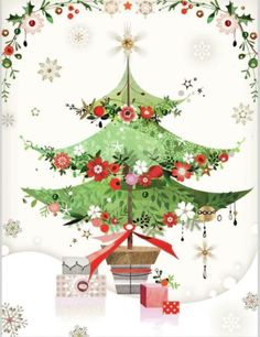 Christmas Tree - By: Lynn Horrabin Christmas Clipart, Vintage Christmas Cards, Christmas Printables, Christmas Pictures, Xmas Cards, Holiday Cards, Christmas Tree Box, All Things Christmas, Winter Christmas