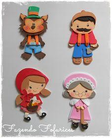 Um blog onde você encontra fofurices em E.V.A e MDF. Felt Puppets, Hand Puppets, Finger Puppets, Kids Bracelets, Flannel Boards, Crafts For Kids To Make, Foam Crafts, Preschool Art, Red Riding Hood