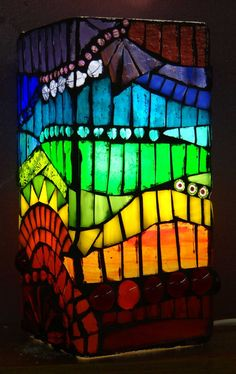 Rainbow stained glass mosaic lamp
