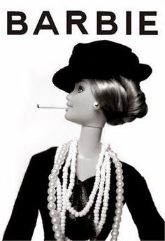 Barbie in Chanel with cigarette. Patterned after Chanel ad. Karl Lagerfeld, Miu Miu, Christian Dior, Mademoiselle Coco Chanel, Moschino, Marc Jacobs, Popular Girl, Louis Vuitton, Barbie Collection