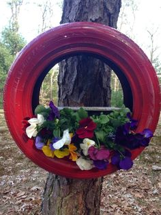 Old Tire Turned Planter Our Crafty Mom #upcycled #garden