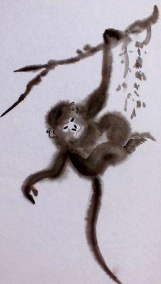 sumi-e hanging monkey Middle School Art Projects, Art School, Monkey Art Projects, Japanese Painting, Animal Drawings, Artsy, Water Colors, Ink, Monkeys