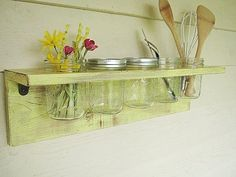 Rustic wood shelf, distressed shabby chic, Yellow, cottage beach home decor, wall shelves
