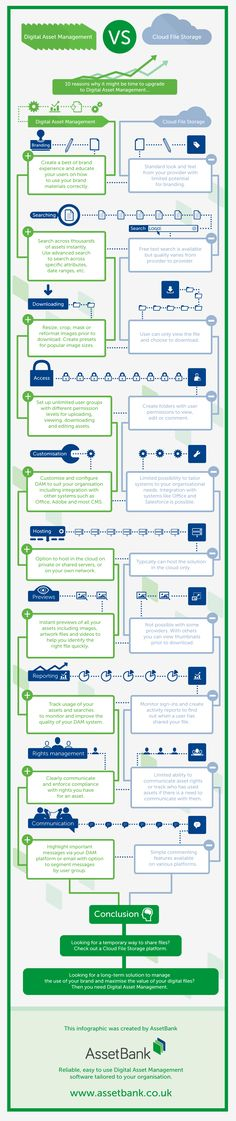 Digital Asset Management vs. Cloud File Storage #infographic #Business #Storage #Technology