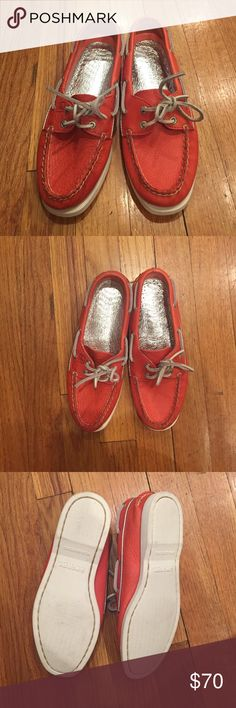 Leather sperry top siders size 6M Neon coral leather sperry top siders. Size 6. Great condition, only worn once. I am normally a size 5.5-6 and they are slightly tight on me, so just keep that in mind. Sperry Top-Sider Shoes Flats & Loafers