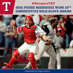#RangersTBT to Pudge Rodriguez claiming his 10th consecutive Gold Glove Award!