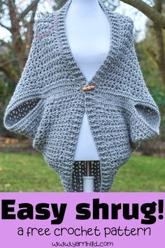 Crochet Sweaters Crochet Shrug - Wrap me Tender — free crochet pattern by Yarnhild - Here you'll find a free pattern for a warm and cozy crochet shrug. This crochet shrug is very simple and beginner friendly. Easy Crochet Shrug, Crochet Shrug Pattern Free, Cardigan Au Crochet, Pull Crochet, Gilet Crochet, Crochet Jacket, Crochet Shawl, Crochet Hooks, Free Crochet