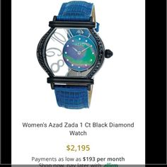 Gorgeous Azad black diamond watch **Limited Edition** 100% authentic Azad 1 Ct black diamond watch. Face is glass. Dark blue mother of pearl dial. Picture has blue leather band but selling with black leather band. (Band is pretty worn from everyday wear - can post more pics upon request). Truly is a beautiful unique watch. Azad Accessories Watches