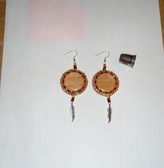 birch bark cab beaded earrings