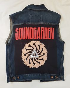 Very cool MENS denim rock vest featuring the iconic Seattle grunge band Soundgarden. Tank Man, Vest, Boutique, Rock, Denim, Clothing, Mens Tops, Outfits, Skirt