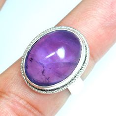 7.84 Gm 925 Sterling silver Natural Amethyst Rings 6.5 US Oval Design Jewelry $