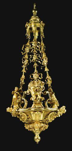 An Italian gilt-bronze lantern, Roman circa 1750-70.