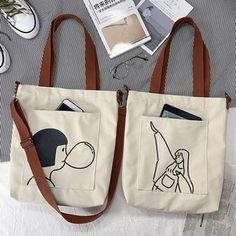 Basaran Printed Canvas Tote Bag (Various Designs) Printed Tote Bags, Canvas Tote Bags, Canvas Totes, Diy Tote Bag, Denim Tote Bags, Black Tote Bag, Girls Messenger Bag, Embroidery Bags, Girls Bags