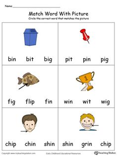 **FREE**Match Word with Picture: IN Words in Color. Provide your child with experience in identifying words ending in –IN by matching the words with each picture. English Grammar For Kids, Learning English For Kids, Teaching Spanish, Preschool Charts, Preschool Learning Activities, Kindergarten Math Worksheets, Tracing Worksheets, Grammar Worksheets, Kindergarten Goals