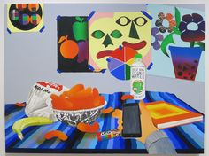 Karen Lederer's 'Hipster Wellness' is a standout in Driscoll Babcock's summer group show of painting by young artists who follow new approaches to traditional still life. Bright colors dominate, particularly a glowing bowl of Cheetos, which balances the orange color squares on an art book about Josef Albers. Painted as if seen in digital space, the picture includes Lederer's own hand, not wielding a brush but as if poised to take a selfie. (In Chelsea through Aug 12th). Karen Lederer…