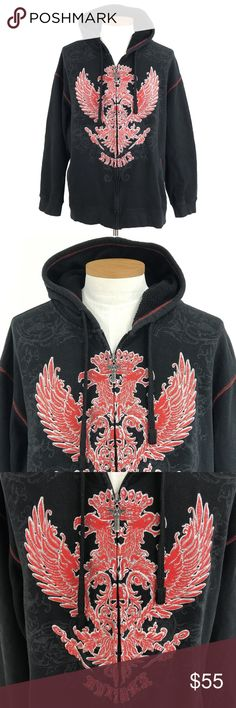 """Avirex Graphic Hoodie Sweatshirt Full Griffin Avirex Mens 3XL Graphic Hoodie Sweatshirt Full Zip Up Griffins Black Embroidered CONDITION: Very good preowned condition with normal signs of light use. No major flaws or imperfections. No stains, holes or heavy wear. May show light signs of wash and wear. All wear is typical of a gently worn preowned item. Please see all photos as a visual description of the item. APPROXIMATE MEASUREMENTS:  CHEST (pit to pit): 28""""   LENGTH (Bottom of collar to…"""