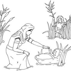 Baby Moses was Safe in His Basket Boat Coloring Page | Color Luna