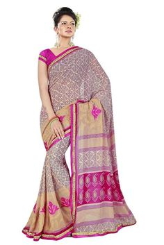 buy saree online Multi Colour Georgette Printed With Embroidery Work Saree Buy Saree online UK  - Buy Sarees online