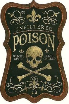 Halloween poison label for potion jars.