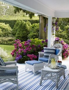 Blue and white summer porch