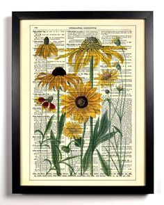 Yellow Daisies Repurposed Book Upcycled Dictionary Art Vintage Book Print Recycled Vintage Dictionary Page  Buy 2 Get 1 FREE. $6.99, via Etsy.