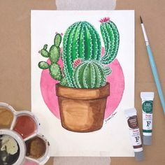 """002 - """"ouch!"""" #cactus #cactos #sketch #drawing #color #watercolor #material #artmaterials #illustration #illustrator #art #pink #green #greenery #aquarela #desenho #draw #drawing #available #plant #drawings #sketchbooks #artists_centera"""