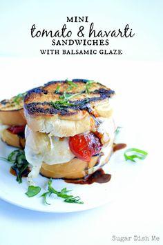 Mini Tomato and Havarti Sandwiches with Balsamic Glaze