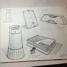 Some midnight ballpoint sketches.. Some sort of tabletop speakers