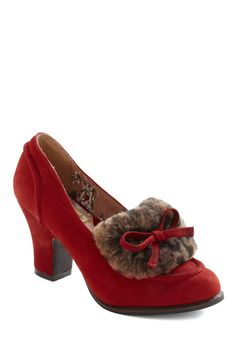 Moscow by Morning Heel by Miss L Fire - Mid, Leather, Suede, Red, Solid, Bows, Brown, Casual, Vintage Inspired, Winter