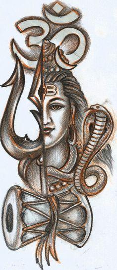 om Tishul and Shiva tattoo