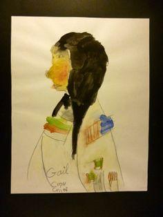 Gail Hampton Crow Chief watercolor on Paper 11 w x 14  self taught outsider art  RHD RI portrait