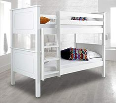 The Vancouver White Finish Solid Pine Wooden Bunk Bed is perfect for a stylish addition to a children's bedroom. Featuring contemporary finish flexible to all homes, the Vancouver White Finish Solid Pine Wooden Bunk Bed boasts two sleeping spaces craf White Wooden Bunk Beds, Solid Wood Bunk Beds, Cabin Bed With Slide, Luxury Bed Frames, Buy Beds Online, Single Bunk Bed, Bunk Bed Designs, Kids Bunk Beds