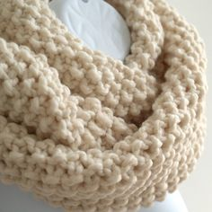 Cowl knitted with super chunky wool