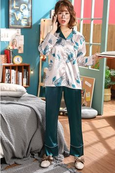 Best Lovely Long-sleeved Home Service Ice Silk Two-piece Suit online, sexy and hot Lovely Long-sleeved Home Service Ice Silk Two-piece Suit is hot sale at NewChic Best Pajamas, Summer Pajamas, Cute Pajamas, Pajamas Women, Pajama Day, British Indian, Lingerie Sleepwear, Republic Of The Congo, St Kitts And Nevis
