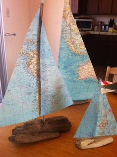 Large Vintage Atlas Map and Driftwood Sailboat by LacyDaysInMint