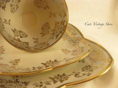 Vintage Trio Set Unique Rare Tea Cup and by CatsVintageStore