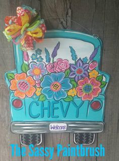 Spring Summer Pick Up Truck, choose the color of the truck and wording on tailgate and tag Replacing Interior Doors, Cheap Interior Doors, Wooden Door Hangers, Wooden Doors, Wooden Signs, Spring Door, Spring Summer, Painted Rocks, Hand Painted