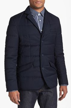 $295, Navy Quilted Blazer: Antony Morato Quilted Jacket. Sold by Nordstrom. Click for more info: https://lookastic.com/men/shop_items/86134/redirect
