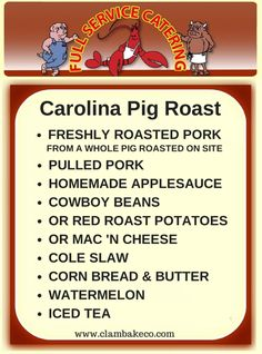 carolina #pigroast - pulled pork, homemade applesauce, beans, potatoes....The garnished pig's head on a platter is optional.