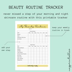 Printable Beauty Tracker, Beauty Routine, Skincare Tracker, Planner Inserts, Skincare Routine, A4, A5, US Letter Size Included #etsy #papergoods #printable #beautyroutine #beautytracker #skincaretracker #skincareroutine #plannerinserts