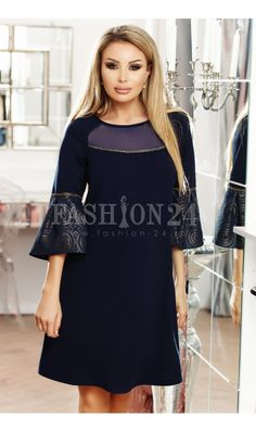 Rochie bleumarin eleganta de ocazie stil A cu maneci clopot