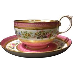 Authentic mid 19th century French Sevres cup and saucer set with salmon glaze and gold gilt Stunning