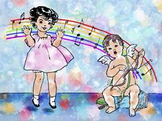 Jumping For Joy - Vintage Child And Cupid Music Illustration