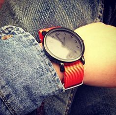 Timex Original Easy Reader + Weird.H Orange Nato Strap weirdh.com Denim