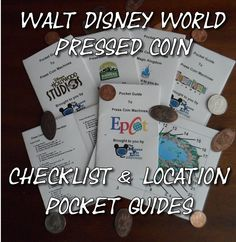 Walt Disney World Pressed Penny/Coin Checklist and Location Guides Walt Disney World Pressed Penny/Coin Checklist and Pocket Guides. It's a fun and easy way to find the locations of pressed penny, dime, quarter machines. Disney World Tipps, Disney World Tips And Tricks, Disney Tips, Disney Fun, Disney Magic, Disney Travel, Disney Stuff, Disney Secrets, Disney Crafts
