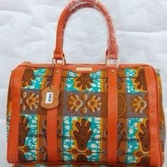 www.cewax.fr aime ce sac en tissu wax africain style ethnique tendance afro tribale cuir orange et turquoise