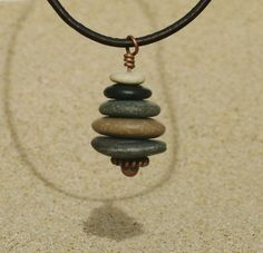 Lake Michigan 16 Inch Pebble Cairn Pendant Necklace by StoneCairns