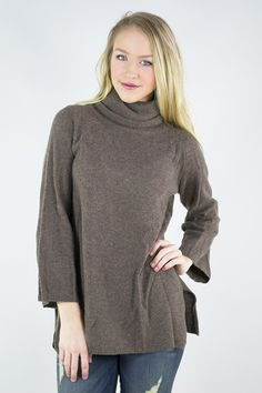 Hot Coco Aroma 3/4 Sleeve Turtleneck Sweater