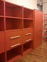 Gales Shelving is available in 30 free colors. Order basic units and add drawers, doors, dividers and shelves as you grow. Free on site layouts.  Gales Industrial Supply  P(732) 489-3867.  Designer Steel Shelving Third Ave NYC 10022