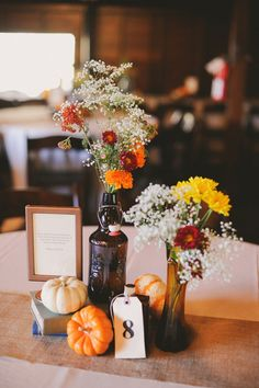Add pumpkins to reception tables for simple, striking centerpieces.